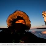 Suvisaariston edusta, Espoo 2014 - Auringonlaskua kuvaamassa retkiluistimilla. © Omakuva